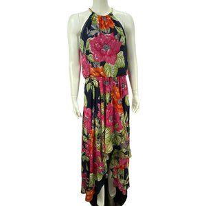 Eliza J Floral High Low Halter Chiffon Maxi Dress